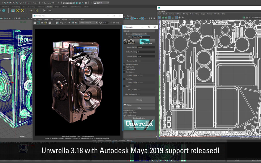 Unwrela 3.18 for Autodesk Maya 2019 released